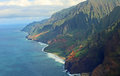 Na pali coast view from helicopter at kauai hawaii Royalty Free Stock Images