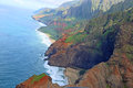 Na pali coast view from helicopter on kauai hawaii Royalty Free Stock Image
