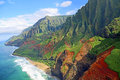 Na pali coast view from helicopter at kauai hawaii Royalty Free Stock Image
