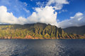 Na pali coastline kauai beautiful coast as seen from off shore Royalty Free Stock Photography
