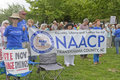 Naacp and other moral monday signs asheville north carolina usa august crowd of mostly older caucasian people hold promoting the Stock Photos