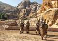 Nabatean soldiers with spears into petra is an editorial image in a sunny day Royalty Free Stock Photography