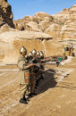 Nabatean soldiers with spears into petra is an editorial image in a sunny day it s a vertical picture Royalty Free Stock Images