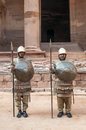 Nabatean soldiers with spears into petra is an editorial image in a sunny day it s a vertical picture Royalty Free Stock Photo