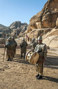 Nabatean soldiers with spears into petra is an editorial image in a sunny day it s a vertical picture Royalty Free Stock Image