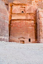 Nabatean tomb in the Siq, Petra Stock Photo