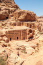 Nabatean tombs in ancient city petra Stock Photo