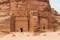 Nabatean tombs in madaîn saleh archeological site saudi arabia Royalty Free Stock Photo