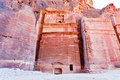Nabatean tombs in the Siq, Petra Stock Photos