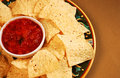Nacho chips and salsa Stock Images