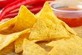 Nacho snacks closeup with salsa dip Royalty Free Stock Photography