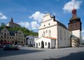 Nachod czech republic center town with the church of st lawrence and castle in eastern bohemia Royalty Free Stock Image