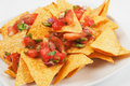 Nachos corn chip and fresh salsa Royalty Free Stock Photography