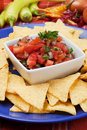 Nachos corn chip and fresh salsa Royalty Free Stock Photo