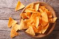 Nachos corn chips in the bowl. Horizontal top view Royalty Free Stock Photo