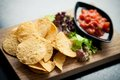 Nachos with fresh tomato and chili salsa Stock Photography