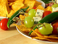 Nachos with green chili for a snack Royalty Free Stock Photo