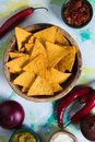Nachos, mexican meal with tortilla chips Royalty Free Stock Photo