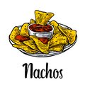 Nachos- mexican traditional food. Vector vintage engraved illustration for menu, poster, web. Isolated on white background. Royalty Free Stock Photo