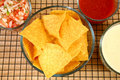 Nachos, Salsa  and Cheese Dip Stock Photo