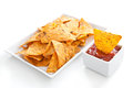 Nachos and sauce Royalty Free Stock Photos