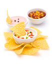 Nachos with various Dip Sauces Royalty Free Stock Image