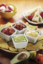 Nachos with Various Dips Stock Image