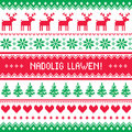 Nadolig Llawen - Merry Christmas in Welsh greetings card, seamless pattern