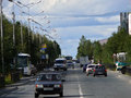 Nadym russia august the city skyline in central road with riding on her car Royalty Free Stock Images