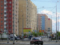 Nadym russia july the city skyline in central road with riding on her car Stock Image