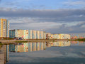 Nadym russia july the cloudy sky above the city na in nadim on river Stock Images