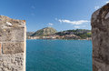 Nafplio as seen from bourtzi peloponnese greece is a seaport town in the in that has expanded up the hillsides near the north end Stock Image