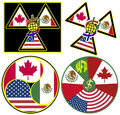 Nafta symbols north american free trade agreement between canada mexico usa Stock Images