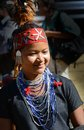 Naga attire a young woman with traditional during the hornbill festival at kohima in nagaland Royalty Free Stock Images