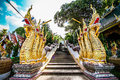 The naga ladder headed in front of phrabuddhabath si roy temple Stock Images