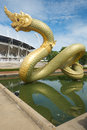 Naga statue and reflect on the water Royalty Free Stock Photo