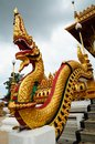 Naga statue at thai temple Stock Photo