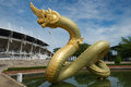 Naga statue on the water Royalty Free Stock Photo