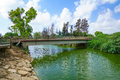 Nahal alexander nature reserve stream and the turtle bridge israel Royalty Free Stock Photos