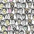 Nahtloses muster mit großer gruppe von personen vektor Lizenzfreie Stockbilder