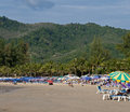 Nai harn beach sunshades on the phuket thailand Royalty Free Stock Image