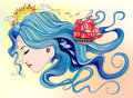 Naiad illustration sea goddess girl with a hair out of the water Royalty Free Stock Images