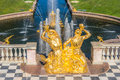 Naiad triton fountain view from the terrace of the grand palace to the in the central part of the lower park in the peterhof state Royalty Free Stock Images