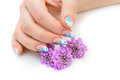 Nail art and flower Royalty Free Stock Photo