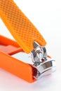 Nail clipper orange on a white background Stock Image