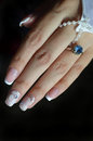 Nail designs for bride: French manicure and velvet sand Royalty Free Stock Photo
