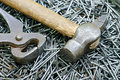 Nail, pincers and  hammer Stock Photography