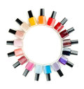 Nail polish arranged in a circle Royalty Free Stock Photo