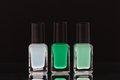 Nail polish bottles black background Royalty Free Stock Photo