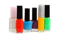 Nail polish set on white background Stock Photos